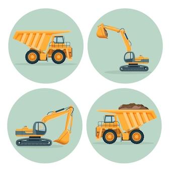 Camión volquete moderno y conjunto de emblemas de excavadora funcional.