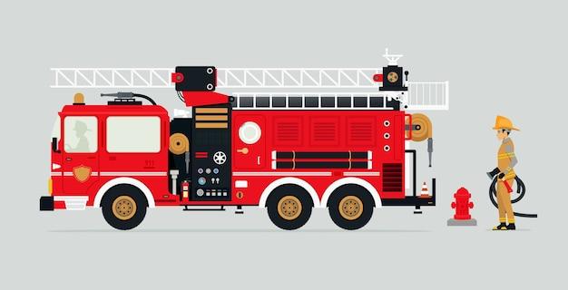 Camiones de bomberos con bomberos y equipo de extinción de incendios.