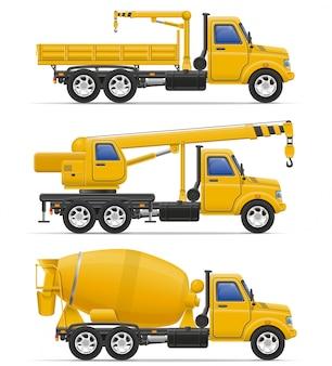 Camiones de carga destinados a la ilustración vectorial de construcción