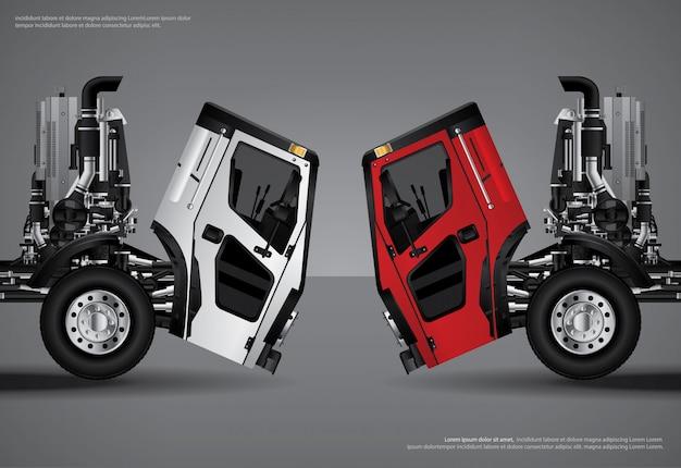 Camiones de carga transporte cartel vector illustration