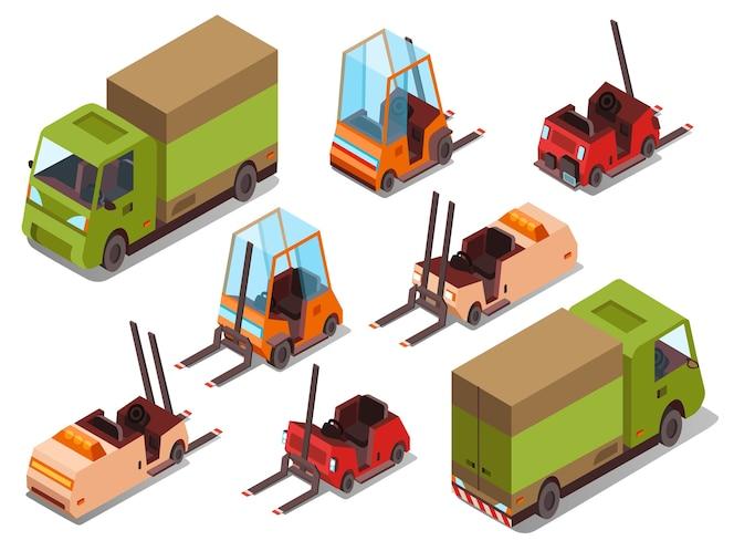 Camiones cargadores isométricos iconos aislados de la logística y la logística de camiones carretilla elevadora