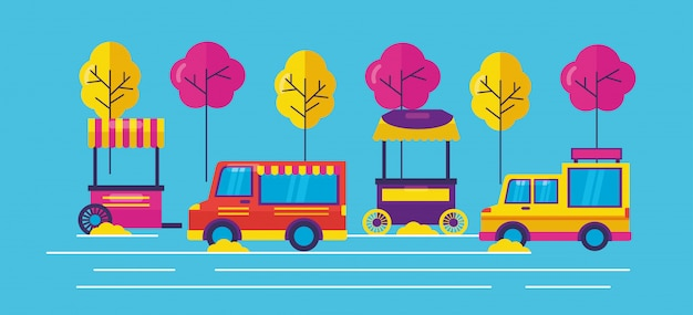 Camiones de comida en estilo plano