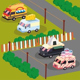 Camiones de comida isométricos en el estacionamiento.