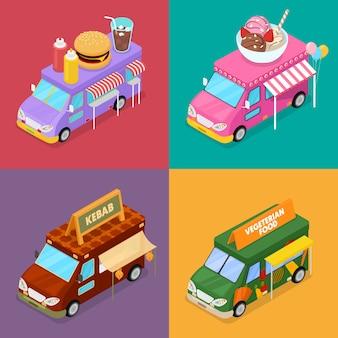 Camiones isométricos de comida callejera con comida vegetariana