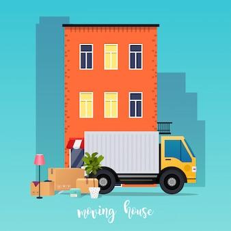 Camiones de mudanzas y cajas de cartón. casa movil. compañía de transporte. paisaje urbano de la ciudad.