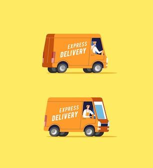 Camiones de reparto con hombres que transportan paquetes.