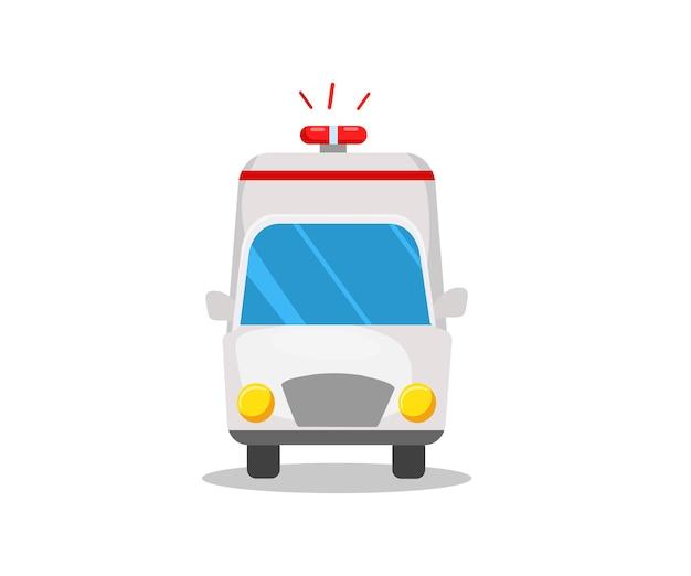 Una camioneta ambulancia. vista frontal. ilustración vectorial de dibujos animados.