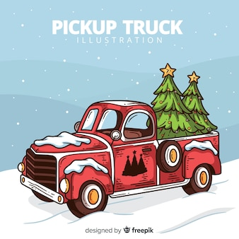 Camioneta con árbol de navidad
