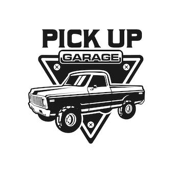 Camioneta pick up, plantilla de logotipo de placa de camión