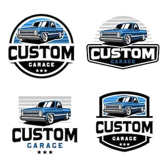 Camioneta, plantilla de logotipo de placa de camión