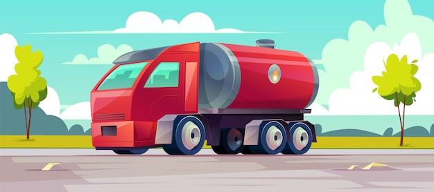 Camioneta roja entrega aceite inflamable en tanque.