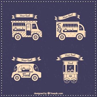 Camionetas de comida en estilo vintage dibujados a mano