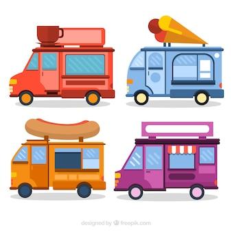 Camionetas de comida planas de colores