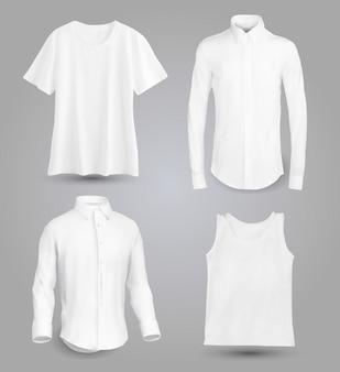 Camisa blanca para hombre con mangas largas y cortas y botones en la parte delantera