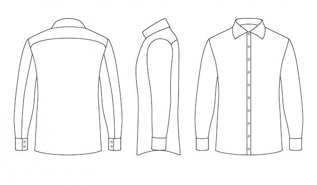 Camisa blanca de hombre de negocios en blanco con mangas largas y botones en las vistas frontal, lateral y posterior.