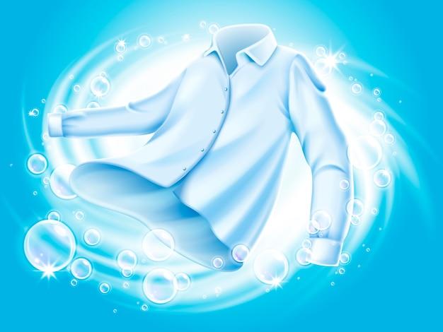 Camisa blanca lavada y hilada en agua, con elementos de pompas de jabón, ilustración de fondo azul