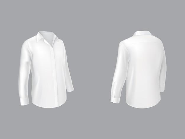 Camisa blanca con mangas largas media vuelta delantera.