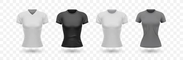 Camisa femenina realista set colección