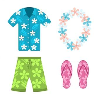 Camisa hawaiana, shorts de verano de playa.