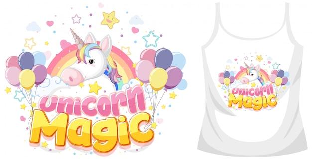 Camisa de unicornio maqueta sobre fondo blanco.
