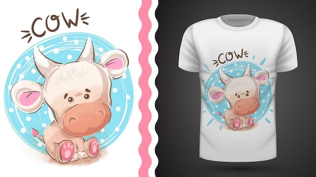 Camiseta acuarela de vaca para estampado.