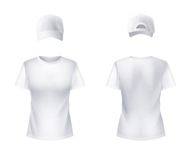 Camiseta blanca y gorra de béisbol hombre realista.