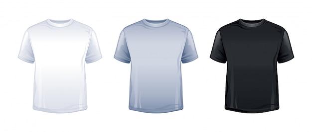 Camiseta en blanco simulacro en color blanco, gris, negro.