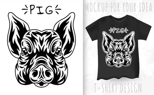 Camiseta y cara de cerdo en estilo monocromo vintage