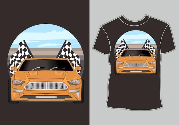 Camiseta, carreras de coches de época retro ilustración
