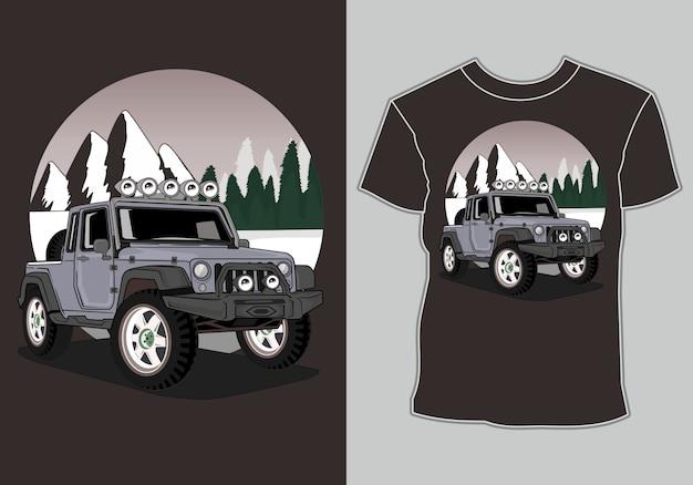 Camiseta de coche de aventura en la ilustración de montaña