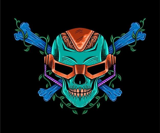 Camiseta colorida deign dibujado a mano cráneo robótico cyborg ilustración