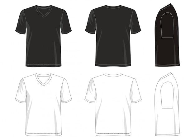 Camiseta con cuello en v plantilla