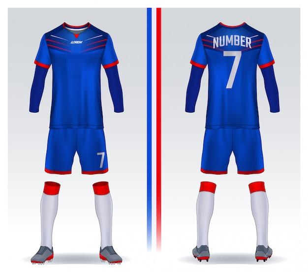 Camiseta de deporte plantilla de diseño, camiseta de fútbol para el club de fútbol. vista frontal y trasera uniforme.