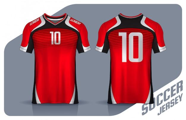 Camiseta deportiva plantilla de diseño, vista frontal y posterior uniforme.
