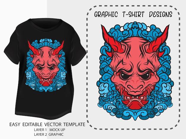 Camiseta, diseño, japonés, style.kabuki, demonio, marca