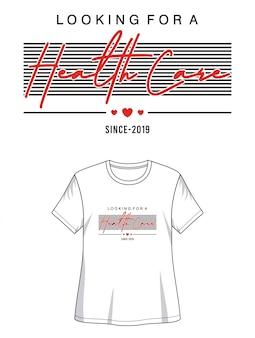 Camiseta de diseño de tipografía de atención médica
