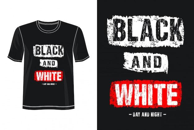 Camiseta con diseño de tipografía en blanco y negro