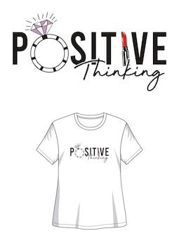 Camiseta de diseño de tipografía de pensamiento positivo