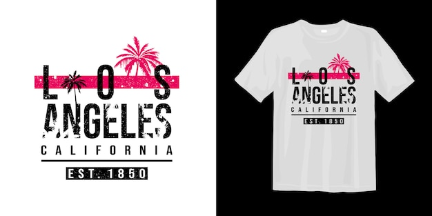 Camiseta estampada de los angeles california con silueta de palmera tropical