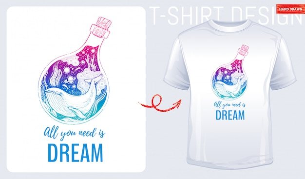Camiseta estampada con ballena marina