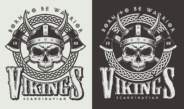 Camiseta estampada con cabeza de vikingo
