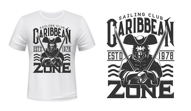 Camiseta estampada capitán pirata, club náutico