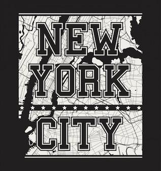Camiseta estampada de nueva york con calles de la ciudad