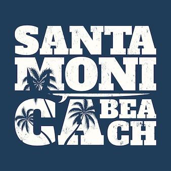 Camiseta estampada de santa mónica con tabla de surf y palmeras.