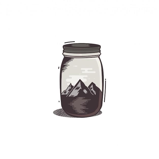 Camiseta estampada de viaje. las montañas y el río en frasco