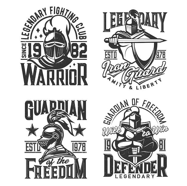 Camiseta con estampado de guerrero caballero medieval con armadura
