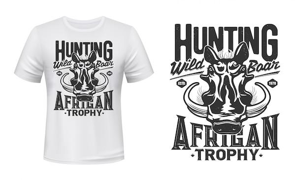Camiseta con estampado de mascota de jabalí warthog