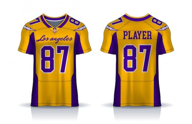 Camiseta de fútbol americano, camiseta de diseño deportivo y plantilla. vista frontal y trasera uniforme.