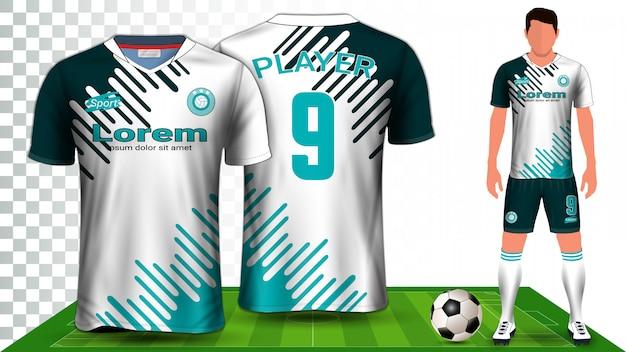 Camiseta de fútbol, camiseta deportiva o equipo de fútbol. presentación del uniforme.
