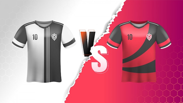 Camiseta de fútbol con fondo versus
